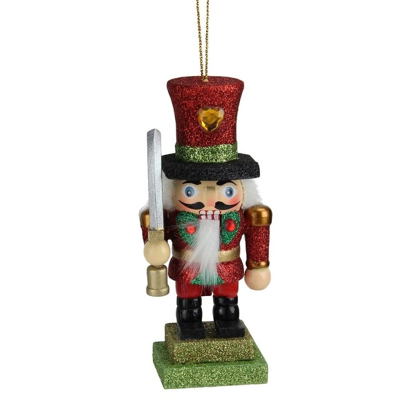 "5"" Hollywood Glittered Red and Green Royal Wooden Christmas Nutcracker Ornament"