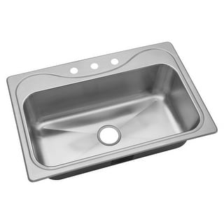 """Sterling 45987-3 Southhaven 33"""" Single Basin Drop In Stainless Steel Bar Sink wi"""