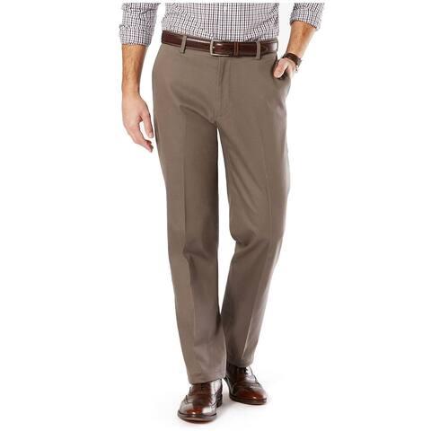 Dockers Mens Big & Tall Khaki Classic Fit Flat Front Pants 42 x 30 Dark Pebble