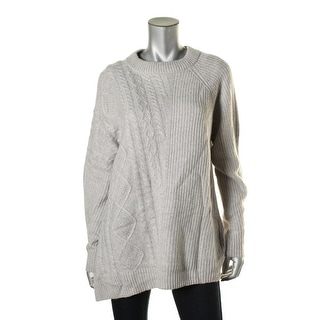 Autumn Cashmere Womens Cashmere Blend Cable Knit Pullover Sweater