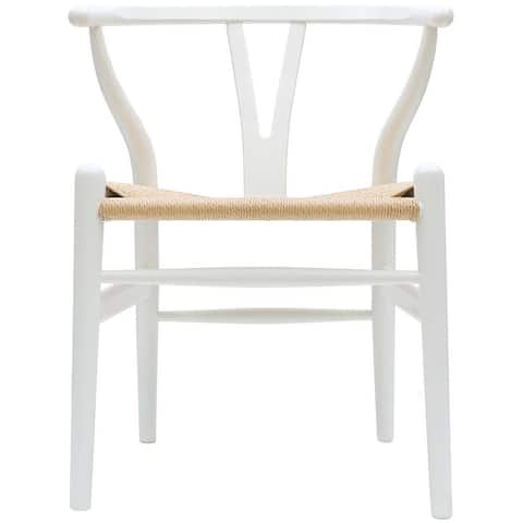 Wood Modern Armchair Dining Room Chair With Natural Papercord Woven Seat For Kitchen Light Wood