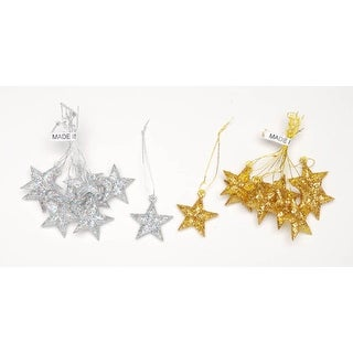 Laser Cut Gold Glitter Star Ornaments: 1 Inch, 9 Pcs for Christmas Tree, Holiday Wreath, Garland, 10 Sets