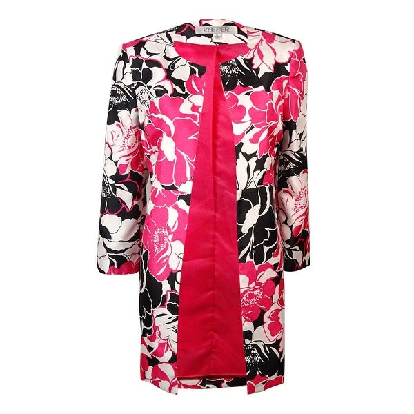 Kasper Women's Scoop Neck Floral Print Satin Blazer Jacket - Rose Multi