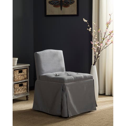 """SAFAVIEH Betsy Grey/ Taupe Cotton Blend Vanity Chair - 19.3"""" x 22.6"""" x 29.5"""" - 19.3"""" x 22.6"""" x 29.5"""""""