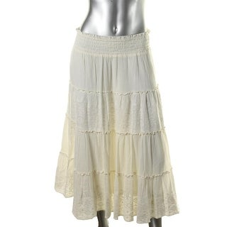 LRL Lauren Jeans Co. Womens Embroidered Mid-Calf Peasant, Boho Skirt - XL