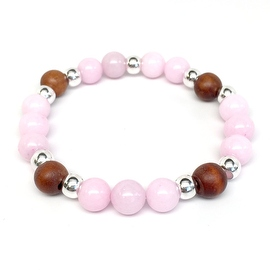 Pink Jade 'Loyal' stretch bracelet Sterling Silver