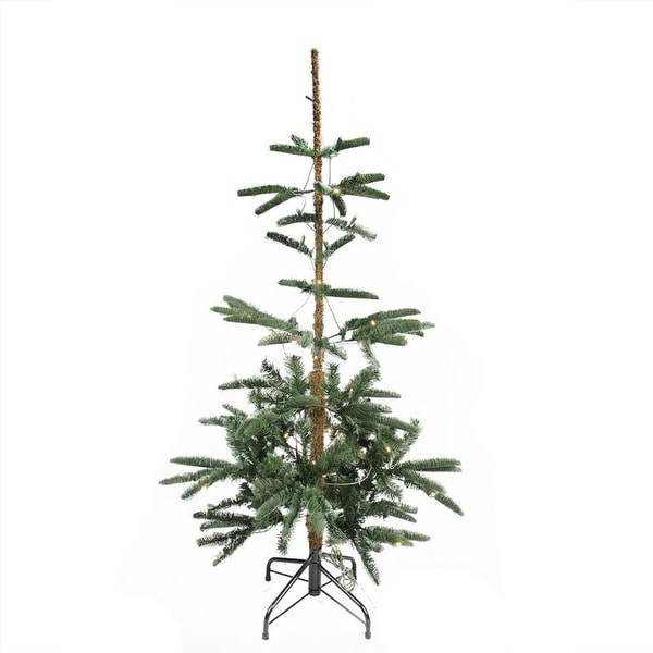 4.5' Pre-Lit Layered Noble Fir Artificial Christmas Tree - Warm Clear LED Lights - brown