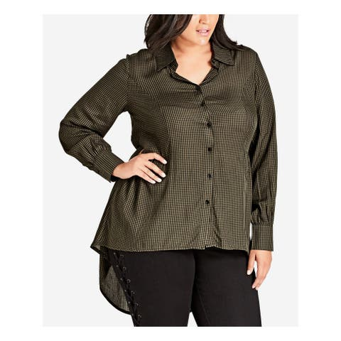 CITY CHIC Womens Green Check Long Sleeve Collared Hi-Lo Top Size 24