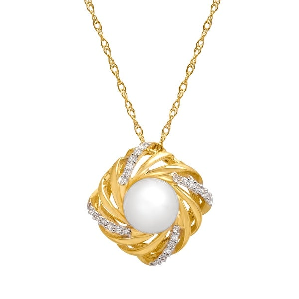 7.5 mm Freshwater Pearl Pendant with Diamonds in 14K Gold