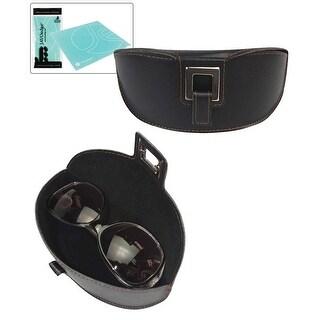 JAVOedge Embroidered Belt Buckle Style Closure Eyeglass / Sunglsses Protective Case + Bonus Microfiber Cloth