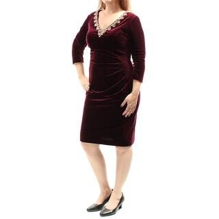 ALEX S $179 Womens 1293 Burgundy Rhinestone Gathered Velvet Dress 12 Petites B+B