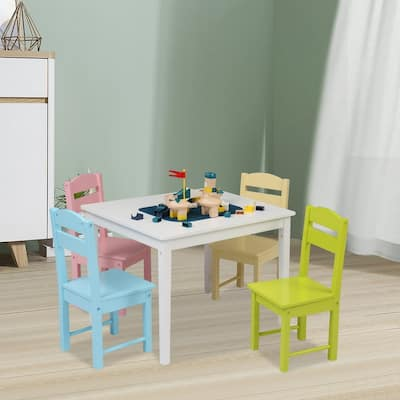 5Pcs Children's Wooden Table And Chair Set