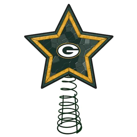 """10"""" Lighted Green and Yellow Star NFL Green Bay Packers Christmas Tree Topper - N/A"""