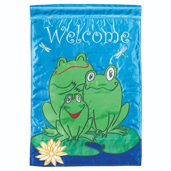 """Blue and Green Frogs Printed Large Garden Flag 42"""" x 29"""" - N/A"""