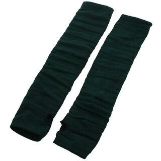 Unique Bargains Lady Fingerless Thumbhole Knit Elbow Long Gloves Winter Warmer Dark Green Pair