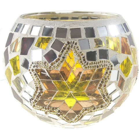 Set of 2 Mosaic Glass Gold Star Candle Holders
