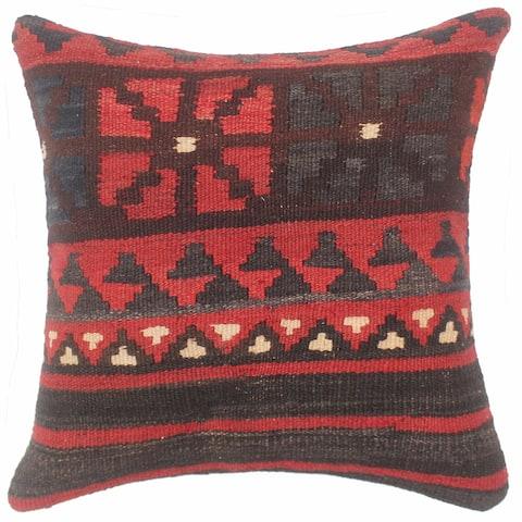 Vintage Antique Turkish Urquhart Hand Woven Kilim Pillow