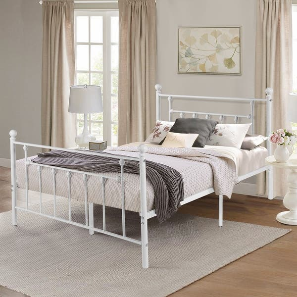 Vecelo Antique White Metal Bed