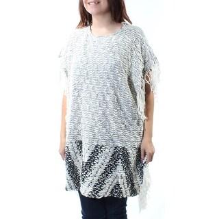 BAR III $80 Womens New 6026 White Fringed Jewel Neck Sleeveless Sweater S B+B