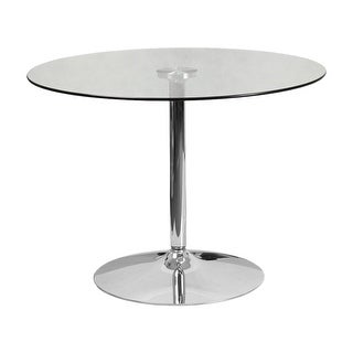 "Offex 39.25"" Round Glass Table with 29""H Chrome Base"