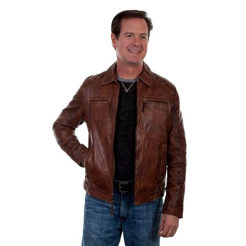 Scully Western Jacket Mens Zip Front Weaved Lined Contrast Stitch - Brown