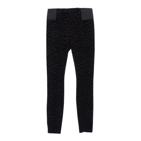 Bar III Women's Burnout Leopard Print Legging Pants - Deep Black - XXS