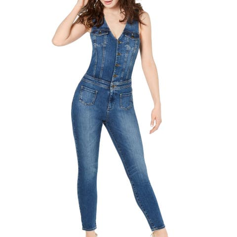 Guess Women's Blue Size XS Western Denim Button Front Tank Jumpsuit