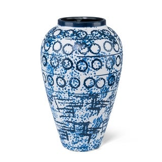 Modern and Sumptuous Ceramic Large Stamped Vase, Blue