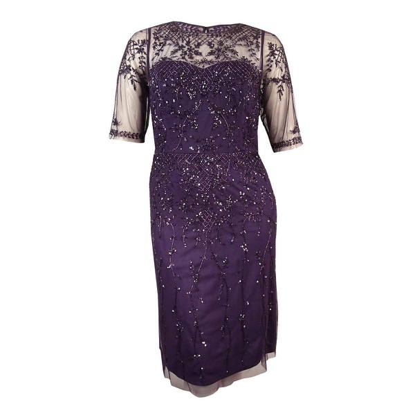 Shop Adrianna Papell Womens Plus Size Half Sleeve Beaded Dress