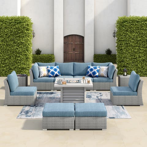 Corvus 11-piece Grey Wicker Patio Sectional Sofa Fire pit Set with Blue Cushions