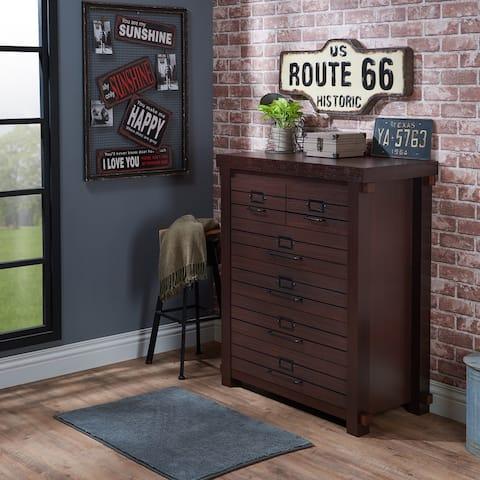 Shawn Rustic Industrial Espresso Vertical Chest Dresser