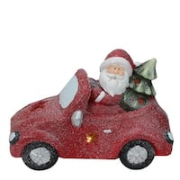 Pre-Lit LED Red Magnesia Glitter Car with Santa Claus Christmas Table Top Decoration