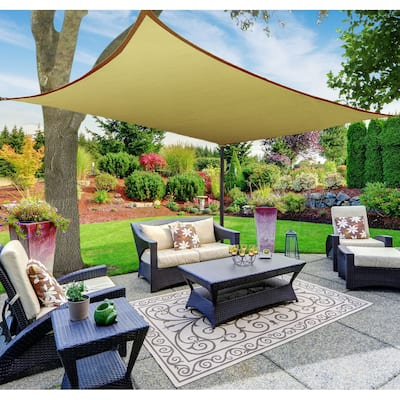 Boen Rectangle Sun Shade Sail Canopy Awning UV Block for Outdoor Patio Garden and Backyard - Beige - 10'x13'
