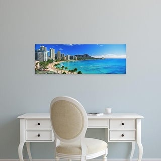 Easy Art Prints Panoramic Image 'Palm trees on beach, Diamond Head, Waikiki Beach, Oahu, Honolulu, Hawaii' Canvas Art