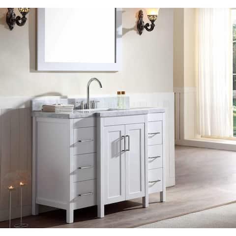 "48"" Freestanding White Bathroom Vanity with Carrara Marble Top"