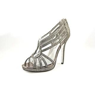 Nina Forest Women Open Toe Canvas Silver Sandals