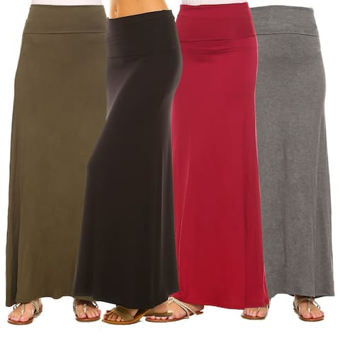 Isaac Liev Women's Trendy Fold Over Maxi Skirts 4-Pack