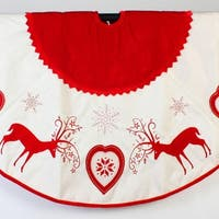 "48"" Rustic Red and White Reindeer and Heart Christmas Tree Skirt"