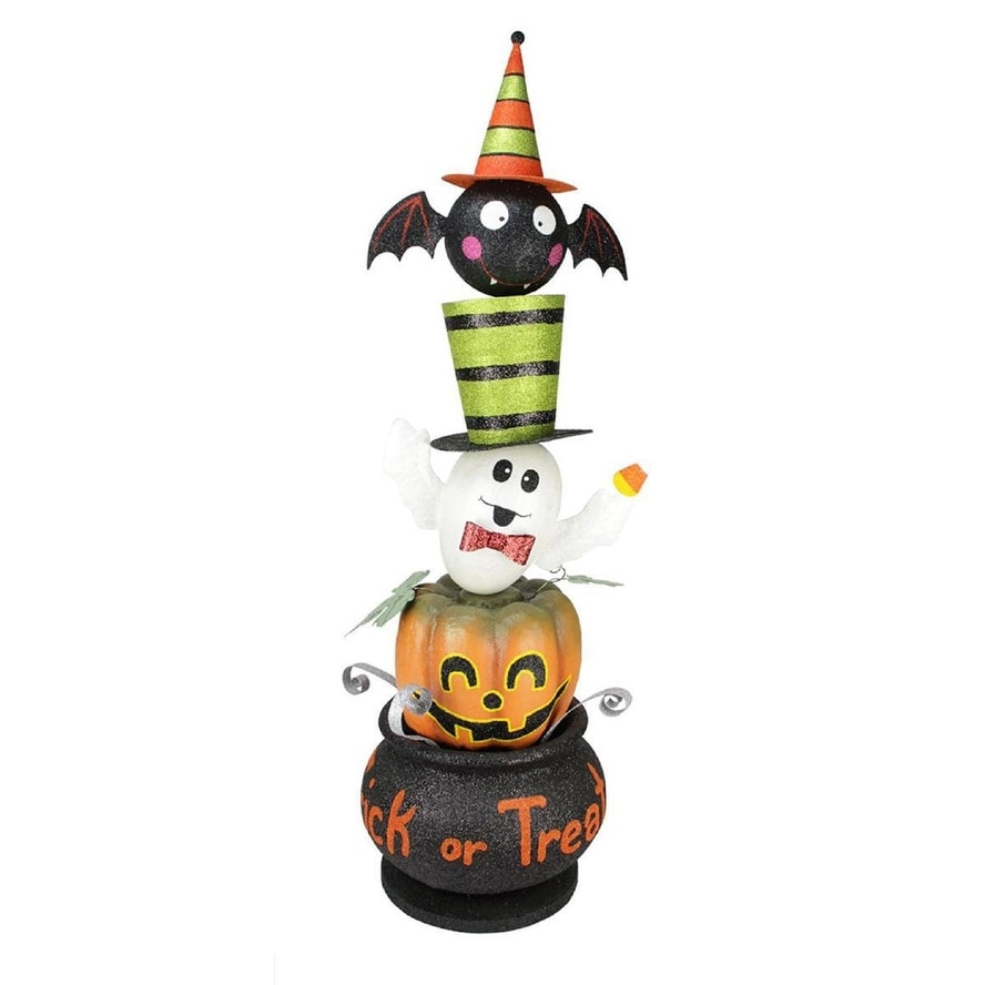 44 Witches Brew Stacked Pumpkin Ghost And Bat Trick Or Treat Halloween Decoration Overstock 16561261