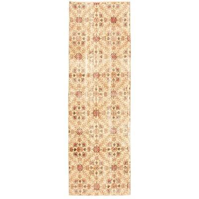 ECARPETGALLERY Hand-knotted Melis Vintage Ivory Wool Rug - 3'0 x 9'9