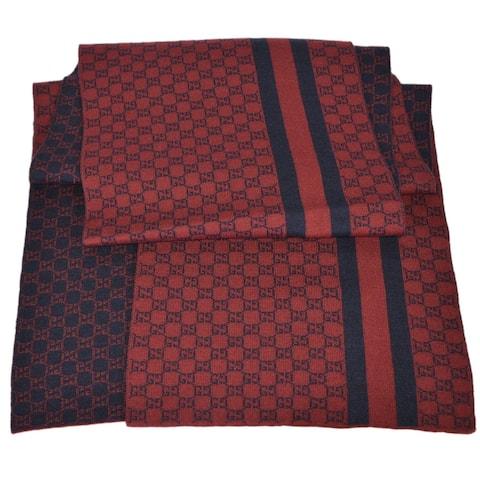 "Gucci Men's 438253 Burgundy Red Wool Web Stripe GG Guccissima Scarf Muffler - 78"" x 12"""