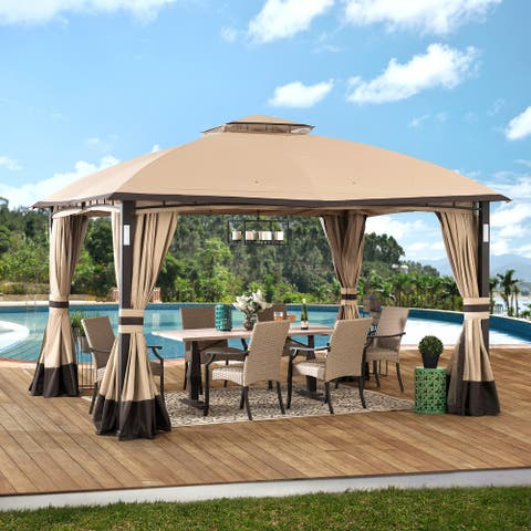 Sunjoy 10 ft. x 12 ft. Tan and Brown Gazebo with LED and Bluetooth