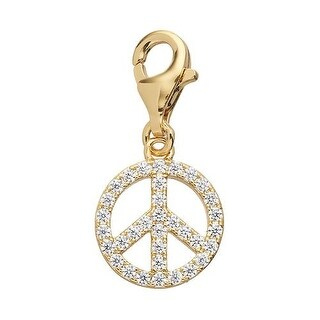 Julieta Jewelry Peace Sign Outline CZ Clip-On Charm