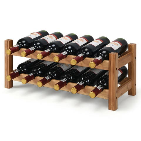 Gymax 2-Tier Bamboo Wine Rack 12 Bottles Display Storage Shelf Holder Kitchen Home - Natural