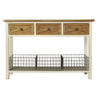 """StyleCraft SC-AF17815  Quail Farm 32"""" Long Wood Console Table with Three Metal Baskets - White and Natural"""