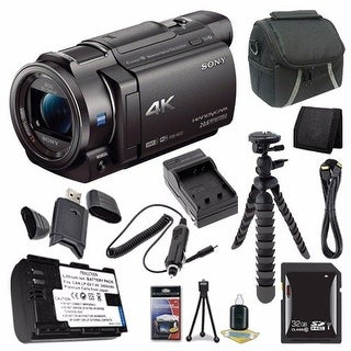 Sony FDR-AX33 4K Ultra HD Handycam Camcorder + NP-FV70 Battery + 32GB SDHC Card + Case + Card Wallet Saver Bundle