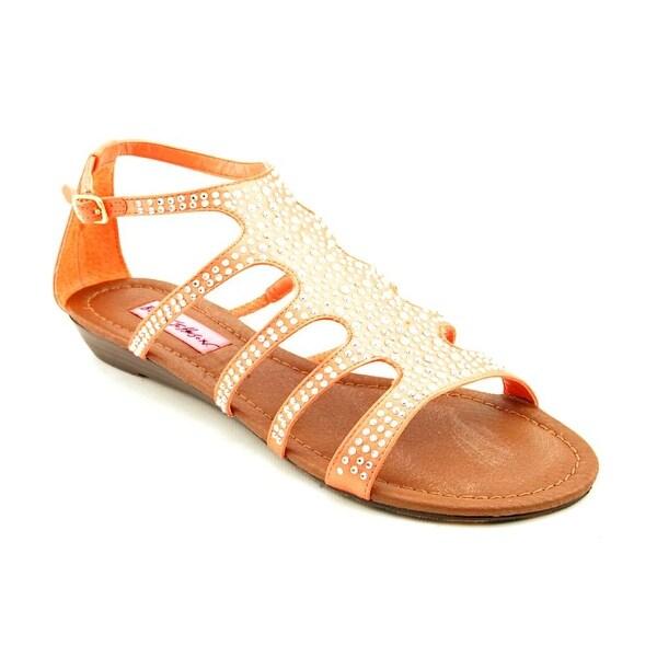 Betsey Johnson Cristals Women Open Toe Canvas Orange Gladiator Sandal