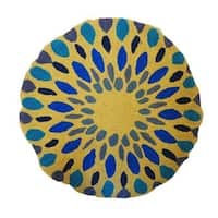 Vivai Home Turquoise Spirograph Pattern Wool Cotton Feather 16 Round Pillow