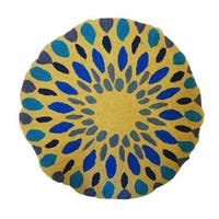 Vivai Home Turquoise Spirograph Pattern Wool Cotton Feather 16 Round Pillow - Blue