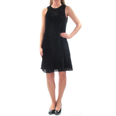 CALVIN KLEIN Black Sleeveless Above The Knee Shift Dress Size 2